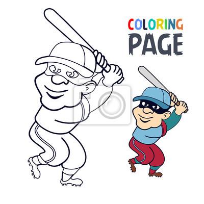 Fototapete Malvorlage Mit Baseball Spieler Karikatur