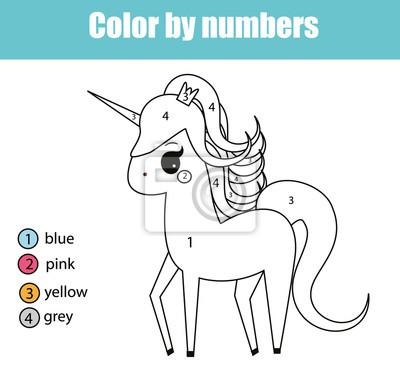 Malvorlage mit einhorncharakter. farbe durch zahlen pädagogische ...