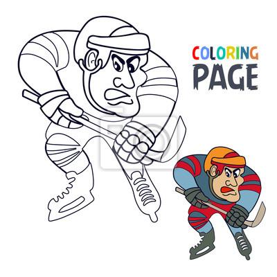 Fototapete Malvorlage Mit Eishockeyspieler Karikatur