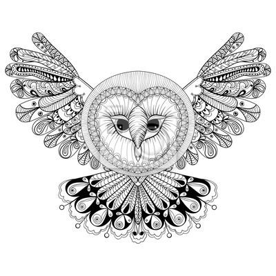 Malvorlage mit eule, zentangle handzeichnung illustration, tri ...