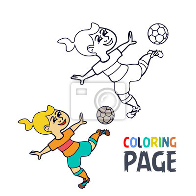 Malvorlage mit frau fußballspieler cartoon fototapete • fototapeten ...
