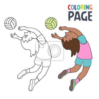 Malvorlage mit frau volleyball spieler cartoon fototapete ...
