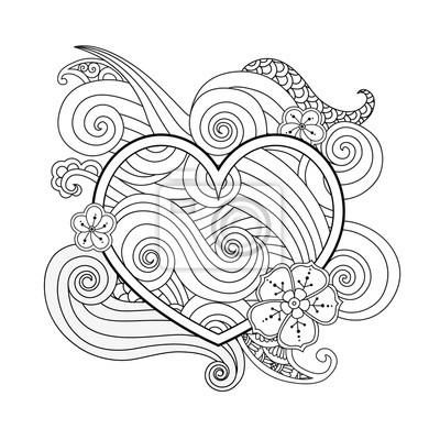 Malvorlage mit herz und abstrakte element isoliert. happy valentines ...