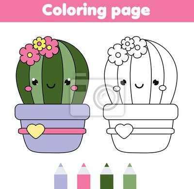 Malvorlage mit niedlichen kaktus. zeichnung kinder spiel. druckbare ...
