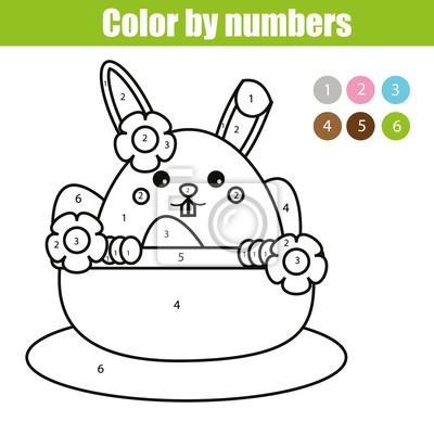 Malvorlage mit osterhasencharakter. farbe durch zahlen pädagogische ...