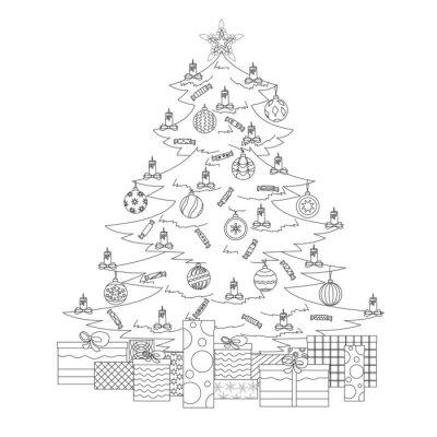 Malvorlage Weihnachtsbaum.Fototapete Malvorlage Mit Weihnachtsbaum Stern Kugeln Süßigkeiten Kerzen