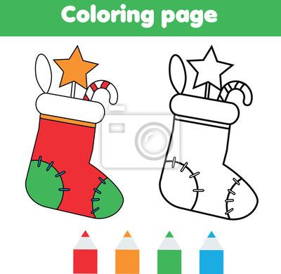 Malvorlage mit weihnachtssocke mit geschenken. zeichnen kinderspiel ...