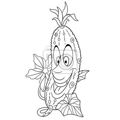 Malvorlage. öko-lebensmittel-symbol. gestaltungselement für kinder ...