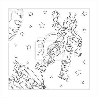 Malvorlage - raum, astronaut, raumschiff, erde und sternen ...