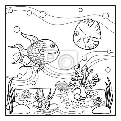 Muschel malvorlage  Malvorlage umriss der unterwasserwelt mit lustigen fischen, muscheln ...
