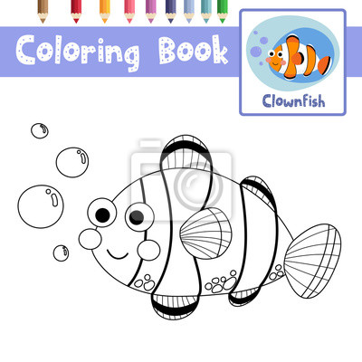 Malvorlage von happy clownfish tiere für vorschule kinder aktivität ...