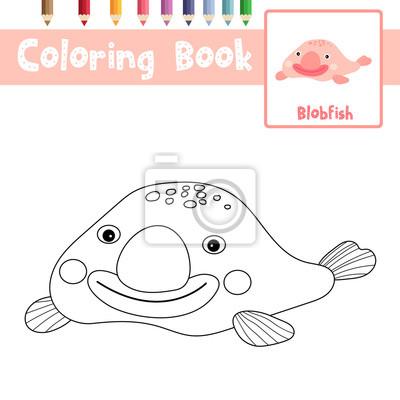 Malvorlage von happy pink blobfish tiere für vorschule kinder ...