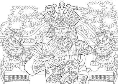 Fototapete Malvorlage Von Japanischen Samurai Mit Löwen Statuen Auf Dem