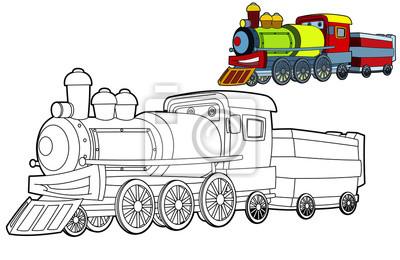 Malvorlage Zug Illustration Für Die Kinder Fototapete