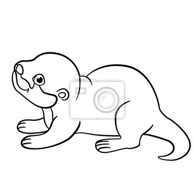 Malvorlagen. little cute baby otter lächeln. fototapete ...