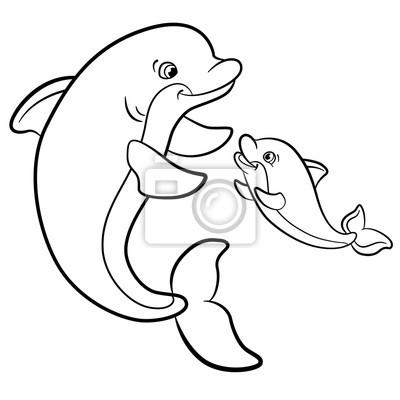 Malvorlagen. marine wilde tiere. mutter-delphin schwimmt mit ...