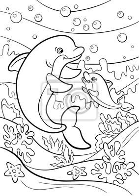 Malvorlagen Marine Wilde Tiere Mutter Delphin Schwimmt Unter