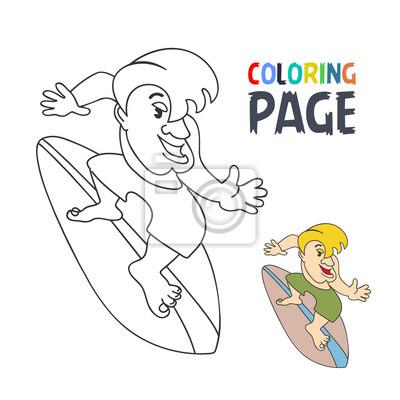 Fototapete Malvorlagen Mit Surfen Spieler Cartoon