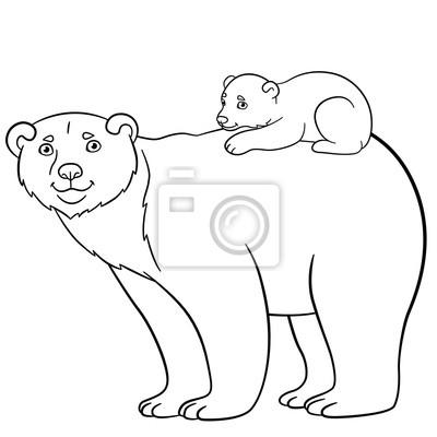 Malvorlagen Mutter Bär Mit Ihrem Süßen Baby Fototapete