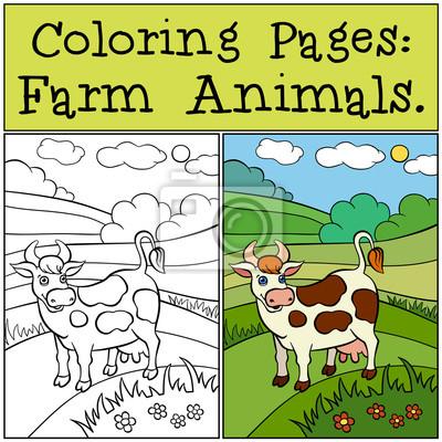Malvorlagen Tiere Auf Dem Bauernhof Nette Kuh Steht Auf Dem