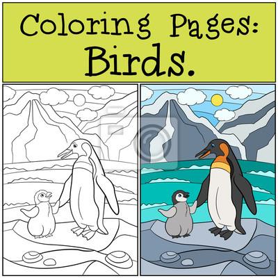 Malvorlagen: vögel. mutter pinguin mit ihrem niedlichen baby ...