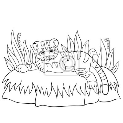 Malvorlagen Wilde Tiere Kleine Niedliche Baby Tiger Lächelt