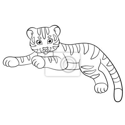 Malvorlagen. wilde tiere. kleine niedliche baby-tiger lächelt ...