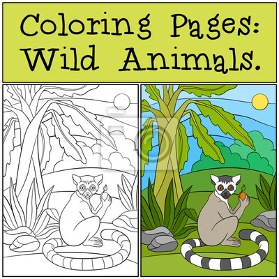 Malvorlagen: wilde tiere. kleine niedliche lemur mit früchten ...
