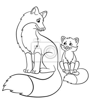 Malvorlagen Wilde Tiere Mutter Fuchs Mit Ihrem Kleinen Süßen