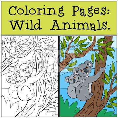 Malvorlagen: wilde tiere. mutter koala mit ihrem niedlichen baby ...