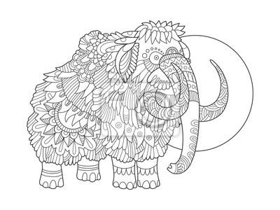 Mammoth färbung buch vektor-illustration fototapete • fototapeten ...