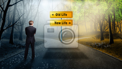 Fototapete man has to decide whether to take the way to the old or new life
