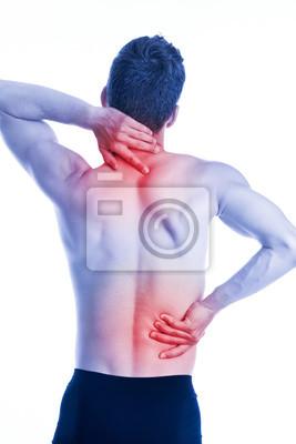 Man hat Schmerzen im Nacken und Hüften auf der Rückseite