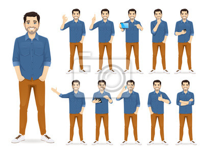 Fototapete Man in casual outfit set with different gestures isolated