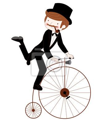 Man reitet ein Jahrgang Fahrrad