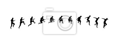 Fototapete Man running and jumping sequence vector illustration frames collection. Sport animation shapes