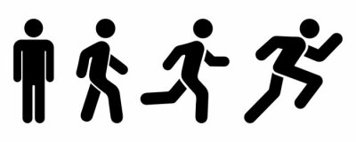 Fototapete Man stands, walk and run icon set. People symbol. Person standing, walking and running illustration. Run, walk, stand. Vector illustration