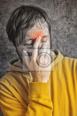 Fototapete Man with Sinus Headache