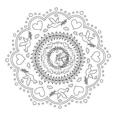 Mandala Ausmalbild Frieden Fototapete Fototapeten Vektor Ornament