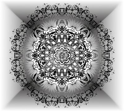 Mandala blumenmuster mit blumen und herzen. malvorlagen für ...