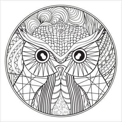 Mandala. eule. zentangle. handgezeichnete kreis zendala mit ...
