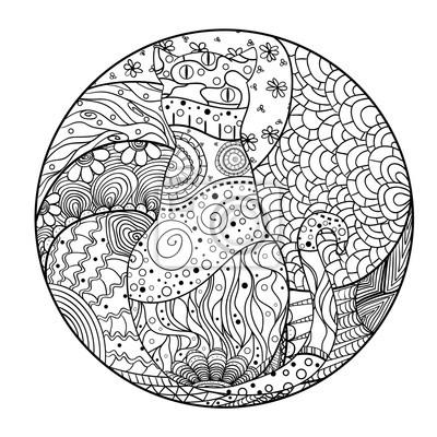 mandala zum ausmalen katze