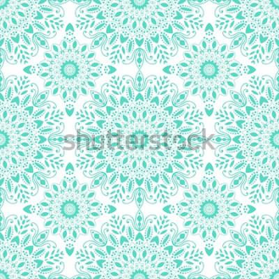 Fototapete Mandala nahtlose Muster. Böhmischer Stil. Weinlesehintergrund mit runder Verzierung, dekoratives indisches Medaillon, abstraktes Blumenelement. Vektor-Design