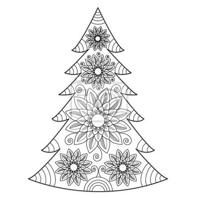 Mandala Weihnachtsbaum Vektor Für Malbuch Albero Di Natale Mandala