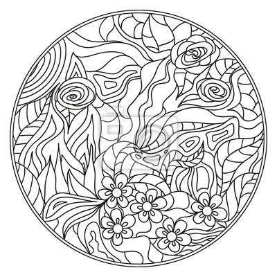 Mandala zentangle hand gezeichneten kreis zendala mit abstrakten ...