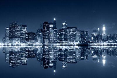 Fototapete Manhattan bei Nacht mit Reflexionen auf Harlem Fluss