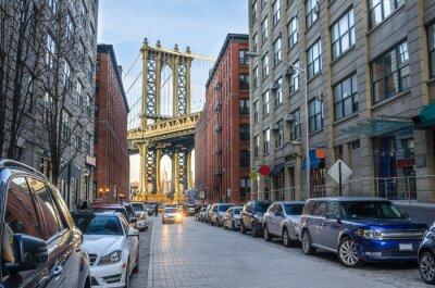 Fototapete Manhattan Bridge from Brooklyn on a Winter Afternoon