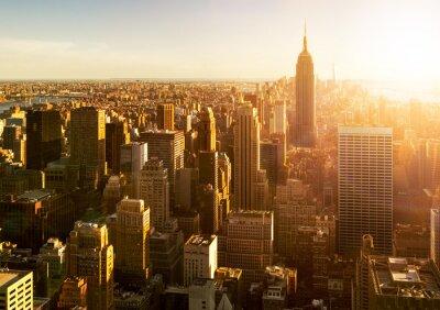 Fototapete Manhattan Skyline bei Sonnenuntergang in New York
