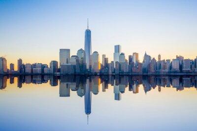 Fototapete Manhattan Skyline mit dem World Trade Center Gebäude One bei tw