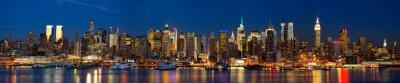 Fototapete Manhattan Skyline Panorama bei Nacht, New York